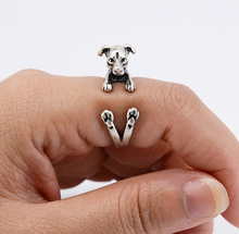 Fashion Vintage 3D Italian Greyhound Wrap Ring Boho Chic Hippie Greyhound Animal Ring Jack Russell Rings For Women Men Jewelry