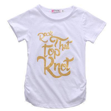 Summer Kids T-shirt for Girls 2017 New Gold Letter Printed Girls T Shirts Cotton Short Sleeve Toddlers Childrens Tops Tees(China)