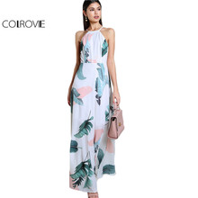 COLROVIE Foliage Halter Maxi Beach Dress Sexy Open Back Women White Summer Dresses 2017 Leaf Print Cut Out Long Casual Dress