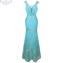 Angel-fashions Women's V Neck Embroidery Lace Flower Mermaid Long Prom Dress Light Lavender Sky Blue 310(China)