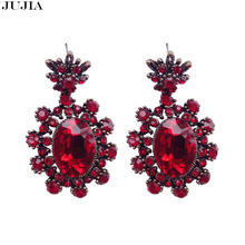 JUJIA New 3Colors Red Flower Big Brand Design Luxury Starburst Pendant Crystal Gem Statement Earrings Jewelry