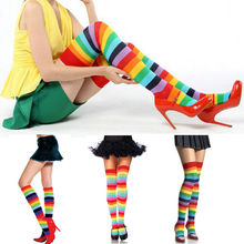 1 pair Fashion Lady Girl charming Colorful Polyester Over Knee Stocking Rainbow high Tigh leggings(China)