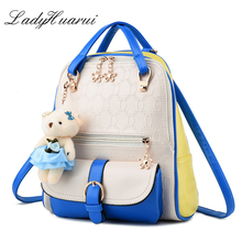 New 2017 spring and summer women backpacks PU Leather fashionable mixed colors female backpack fresh cute students shoulder bags(China)