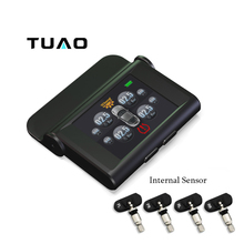 TUAO TY04-2 TPMS Car Tire Pressure Monitoring System TFT Display Solar Power 4 Internal Sensor Auto Alarm System Diagnostic Tool