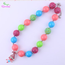 Cordial Design Kids Jewelry Handmade Coral/Hot Pink/Blue/Green Rhinestone Alloy Cute Character Pendant Necklace KQNL-601677(China)