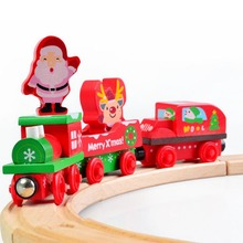 Christmas Track Car Wooden Trains Railway Model Toys Educational Magnetic Vehicle Blocks Christmas Gift For Children(China)