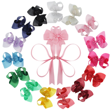 Pack of 15 Big 8 Inch Grosgrain Ribbon Hair Bows Alligator Clips for Toddlers Girls with 2 Hairbow Holders(China)