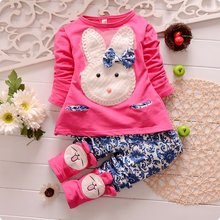 New Baby Spring Clothing set kids Cartoon long sleeve Bunny Rabbit clothes suits children Girls T shirt pants Cute 2 pcs clothes
