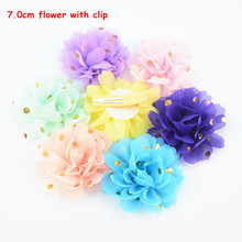32 pcs/lot , 2.75 inch Gold Polka dot Lotus petal flower hair clips , Chiffon Fabric Flower with Alligator Clip(China)