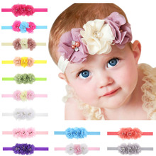 20 Colors New Fashion Hot children kids Baby girls pearl diamond 3 flowers Hairband Headwear Hair Band Hair Piece Accessories