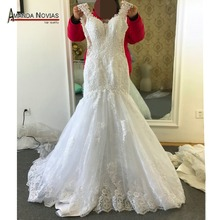 2017 Lace Mermaid Cap Sleeve Appliques V-Neck Sexy Wedding Dress(China)