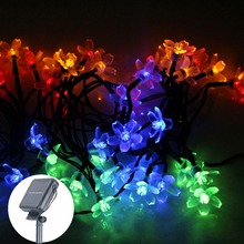7M 50 led solar flower garden decoration LED String light Fairy Lights Garland Christmas light party Decor Outdoor Waterproof