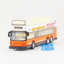 Free Shipping/Diecast Toy Model/Pull Back/City Sightseeing Bus/Sound & Light Cute Car/Educational Collection/Gift For Children(China)