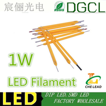 100pcs free shipping 1w cob filament led for led bulb warm white/ white led 3000K/4500/6000K filament for led lamp 26MM/38MM