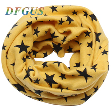 2017 Autumn Winter Children's Cotton Scarf Star Print Kids High Quality Boys and Girls Scarves Child O Ring Neck Warmer Scarf(China)
