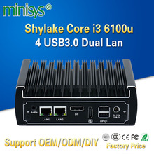 Minisys Fanless mini pc intel core i3 6100u CPU dual ethernet lan nano itx desktop computer support M.2 port 6 USB3.0 2 COM 12V(China)