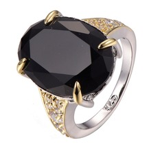 Hot Sale Huge Black onyx White Crystal Zircon 925 sterling silver High quantity Ring Size 6 7 8 9 10 F1302