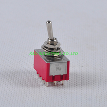 2pcs ON-ON 4PDT 12pin Terminal Red Toggle Switch Guitar Amp fr 2A 250VAC 6A