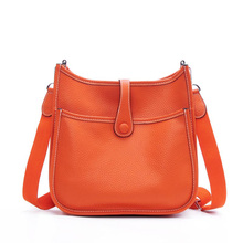 CNMIUTER Women Luxury Brand Shoulder Bag Genuine Leather H Hole Fashion Trend Shoulder Bag Lady Lichee Pattern Crossbody Bag