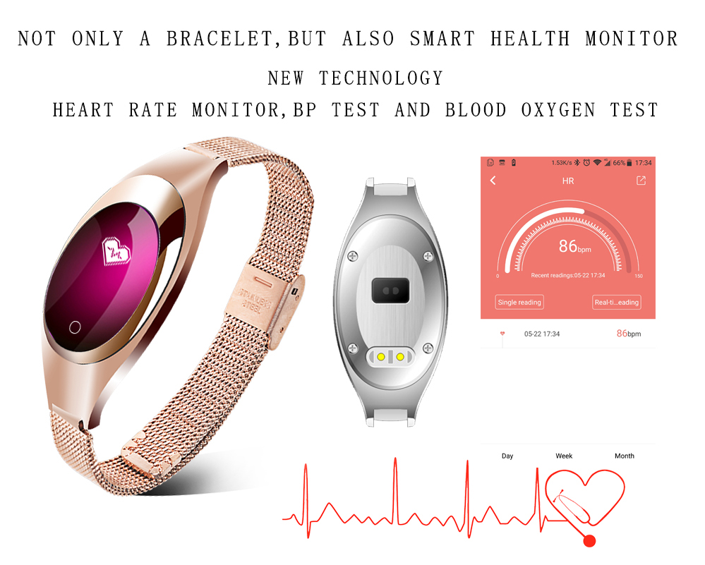 Smart Wristband Z18 Bluetooth Bracelet Blood Pressure Oxygen Heart Rate Monitor Waterproof Pedometer For iOS Android Women Men 3