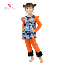 2017 Kaiya Newest Wholesal Fall Outfit Toddler Boutique Kids Clothing Birthday Gift Baby Summer Pajamas Set Girls Lovely Clothes