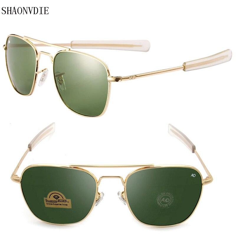 2016 New Army MILITARY AO Sunglasses men women American Optical Glass Lens Alloy Frame Quality Sunglasses Oculos De Sol AO8045<br><br>Aliexpress