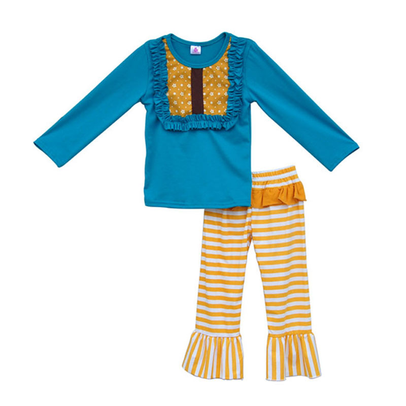 Factory Selling Girls Clothing Set Blue Pullover Bib Shirts Ruffles Yellow Striped Pants Lovely Baby Daily Outfits Clothes F019<br><br>Aliexpress