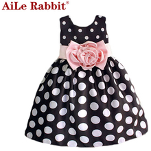 AiLe Rabbit Christmas Super Flower girls dresses for party and wedding Dot print Princess Kids Dress Fashion Children's Clothing