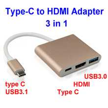 combo 3-in-1 USB3.1 Type C to HDMI USB3.0 Charging Cable HDMI Hub Adapter For Mobile phone MacBook type C devices