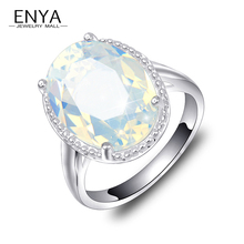 ENYA New Fashion Popular Ellipse Synthetic Moonstone Rings For Women Silver Plated Jewelry Holiday Gift R0482(China)