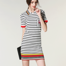 Runway Dresses Sen female summer new classic POLO collar short-sleeved black white striped dress woman Cubs SK-007