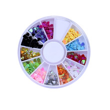 1PC Nail stickers Wholesale 3D Acrylic Nail Art Tips Stud DIY Decoration Glitter Rhinestones Wheel Overmal New Arrival 2017