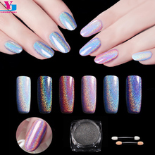 New Top Quality 1g/Box Nail Art Glitter Fine Laser Rainbow Pigment Shinning Holographic Chrome Nail Powder Manicure Dust Diy Kit