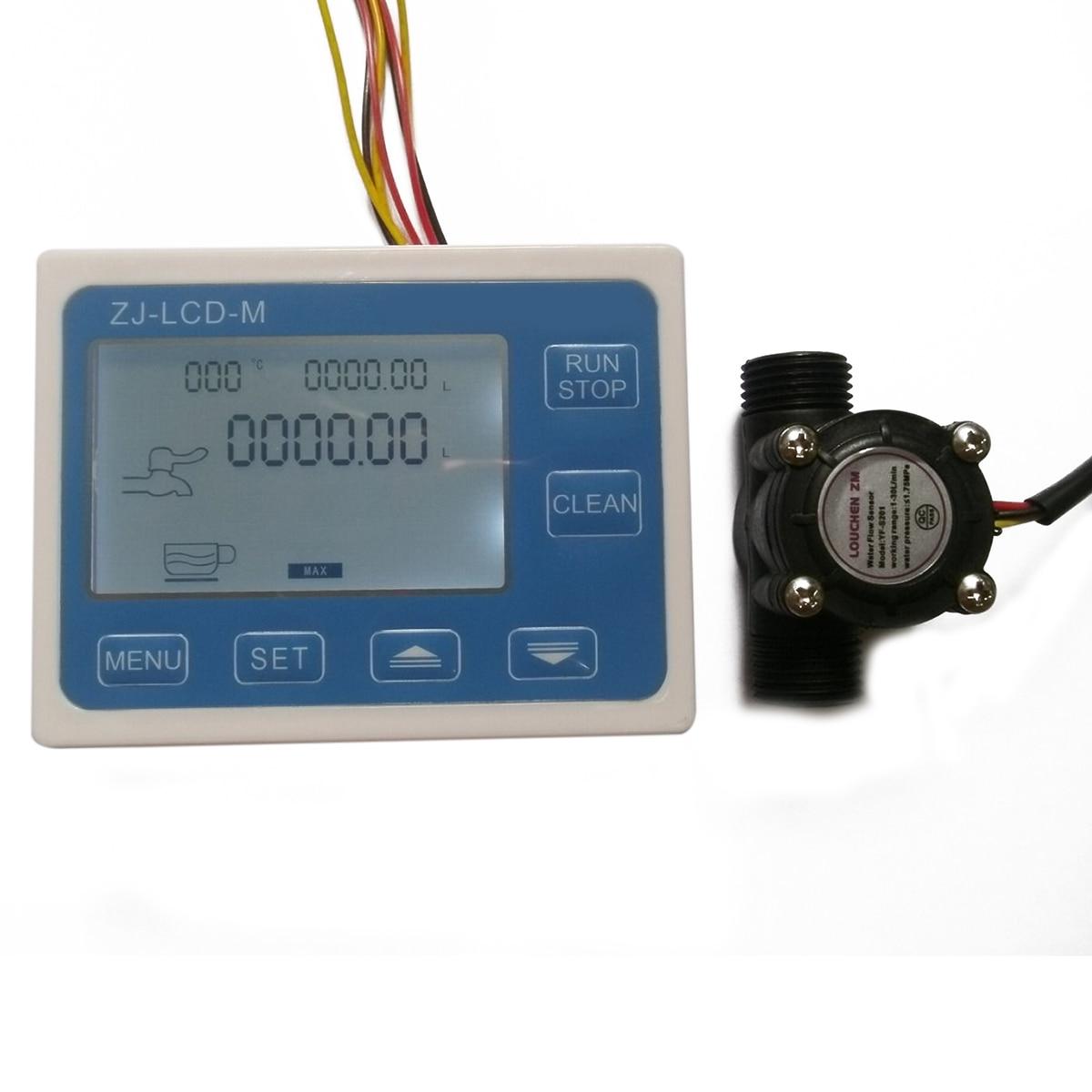 G1/2 Hall effect Flow Water Sensor Meter Mayitr Flowmeter + Blue Digital LCD Display Controller For Solenoid Valve<br>
