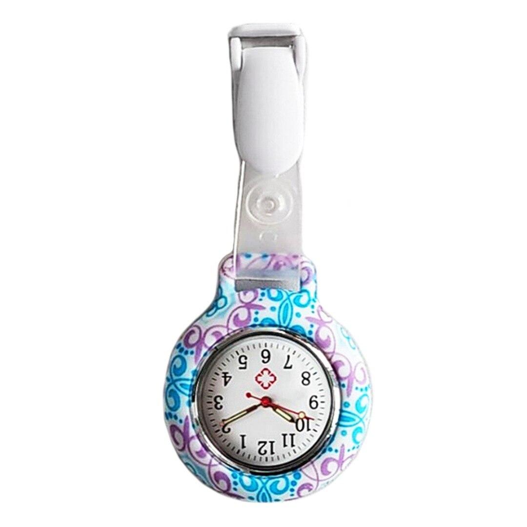 Shellhard Fashion Casual Ethnic Flower Silicone Nurse Watch 4 Styles Brooch Fob Quartz Pocket Round Dial Nurse Watch