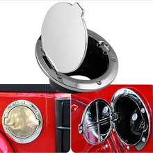 Car-styling Silver ABS Aluminum Chrome Stainless Gas Fuel Filler Tank Cover Cap Door For Jeep Wrangler 2007-2016 Free Shipping