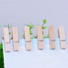 wood Clamps 50pcs pack pictures hanging small items of pure wood wood color natural color cute mini clip