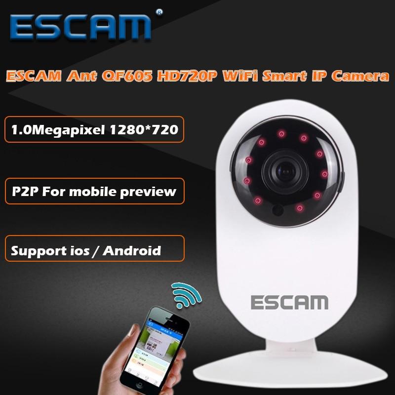 ESCAM Ant QF605 Wifi Mini Household IP Camera 1.0MP HD 720P Onvif2.0 P2P indoor Surveillance Night Vision Security CCTV Camera<br>
