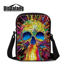 Dispalang multi-colorful skull head men messenger bags punk style ghost mini crossbody bag for young man small bolsa feminina
