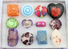 50pcs sale Big raver giant chunky ring Jewel mix color and patterns Dichroic Resin Glowing rings punk rings ,big exotic