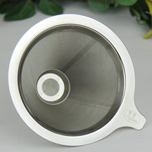 Stainless steel double layer coffee filter screen, filter paper hand washing, American drip coffee powder sharing pot filter cup(China)
