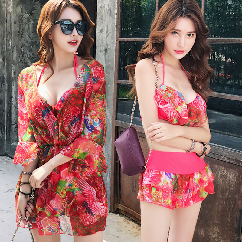 2018 Plus Size Floral Bikini Sexy Women Push Up Swimwear Dress Swimsuit Padding Bathing Suit Beachwear Maillot De Bain Skirt<br>