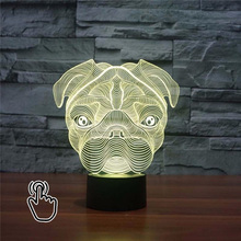 3D LED Cute Pug Dog Night Light Baby Animal Lights Table Lamps For Home Decor Christmas Promotional Gifts For kids Children(China)