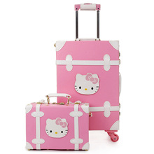 New Fashion PU Korean Cute Retro Rolling Luggage Sets Trolley Women Pink KT Travel Bag Leather Suitcase Card Boarding Box Trunk
