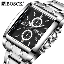 Buy BOSCK Luxury Brand Mens Watches Business Watch Mens Military Quartz Square Watches Stainless Steel Strap Casual Wristwatch Gift for $9.67 in AliExpress store