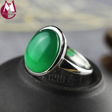 Top Quality 4 Color Gemstone Natural Chalcedony Garnet Jade Rings 925 Sterling Silver Ring For Women Fine Wedding Jewelry SR57(China)