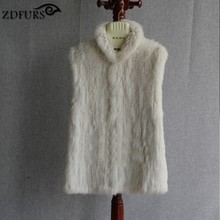 ZDFURS *new style hand made knitted rabbit fur vest  classical  warmer wairstcoat  fur gilet  ZDKR-165018