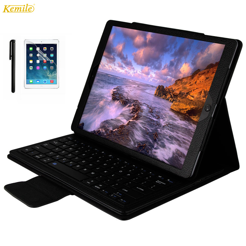 Kemile Luxury Bluetooth Keyboard Case For iPad pro 12.9(2017) Wireless Keyboard For ipad pro 12.9inch  PU leather keyboard cover<br>