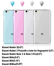 Original Xiaomi Redmi 3 4X,Note 2 3 4 Pro Prime Mi6 Mi5S Plus MiMax Mi4i 4C 5C 4S Mi3 Mi Note 2 soft TPU Slim Transparent Case