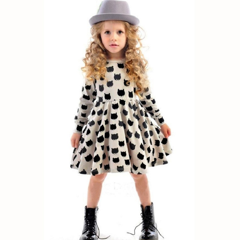 Comfortable Cotton Girls Dress Autumn 2017 New Black Cat Pattern Printing Children Clothes Stretch Bottoming Tight Dress Girls<br><br>Aliexpress
